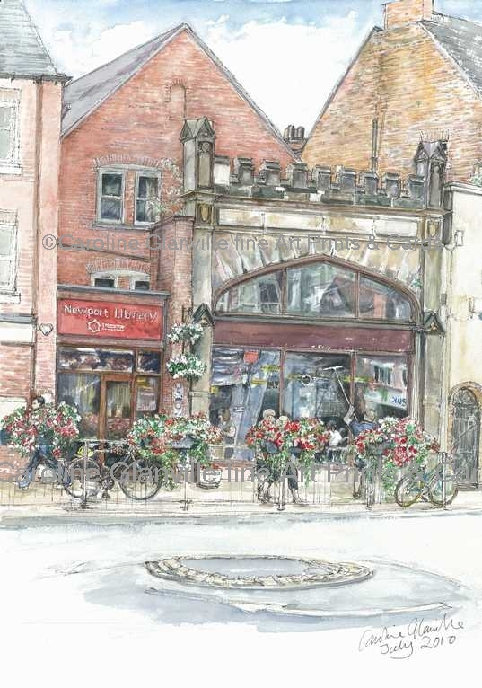 Newport library, painting by Caroline Glanville